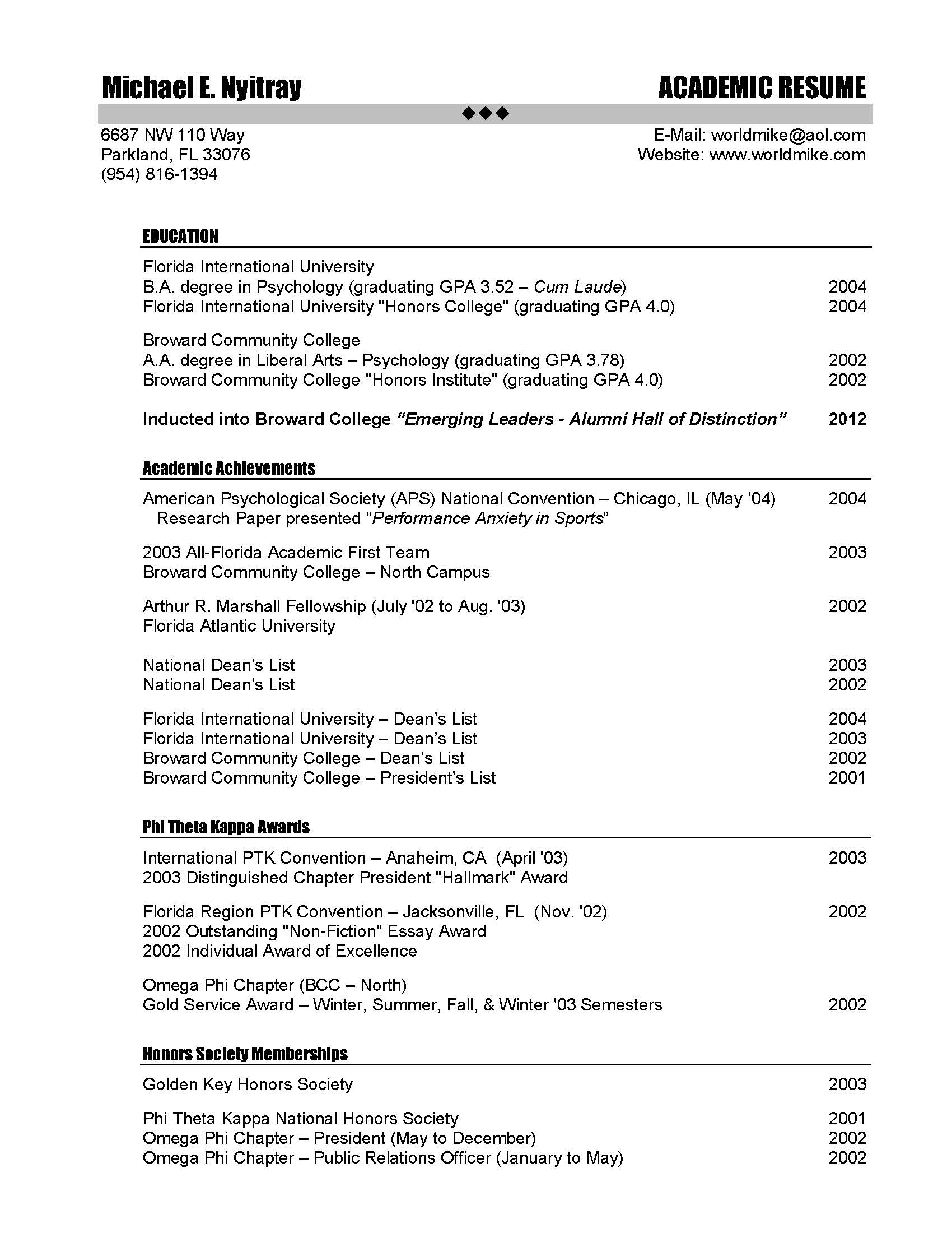 Examples of academic resumes